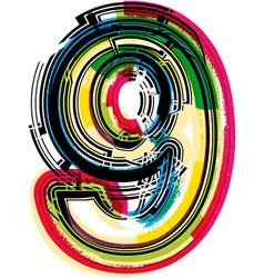 Colorful Grunge font NUMBER 9 vector image