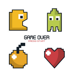 Colorful poster of game over press start with vector