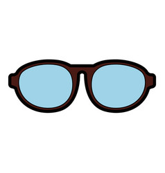 cute brown glasses cartoon vector image