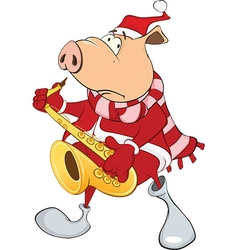 Cute pig saxophonist cartoon vector