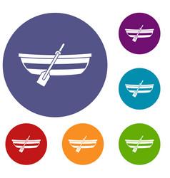 fishing boat icons set vector image