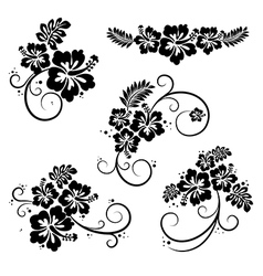 Flourish hibiscus decorative design elements vector