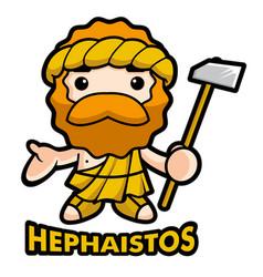 God of fire hephaestus character vulcanus vector