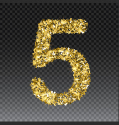 Gold glittering number five shining golden vector