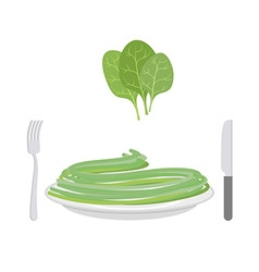 Green pasta with ingredient spinach spaghetti on a vector