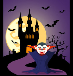 Halloween background with dracula and full moon vector