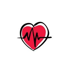 heart with ekg cardiology icon vector image vector image