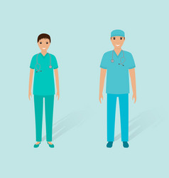 Hospital staff concept couple of male orderly and vector