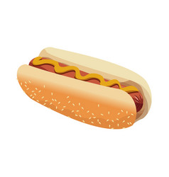hot dog american fast food sausage with mustard vector image vector image