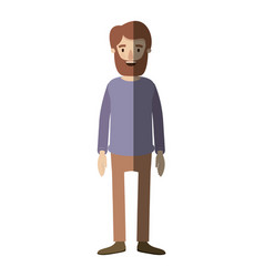 Light color shading caricature full body man with vector