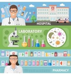 Medicine Horizontal Flat Banners Set vector image