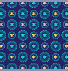 Mod blue gold jewish star background pattern vector