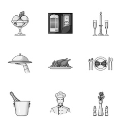 Restaurant set icons in monochrome style big vector