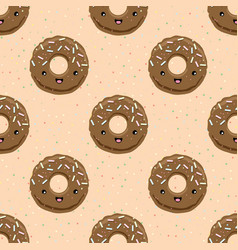 seamless pattern with chocolate glazed donuts vector image vector image