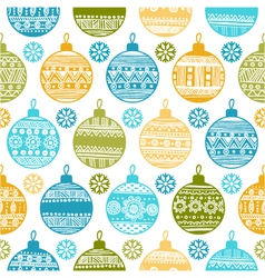 seamless pattern with Christmas balls and snowflak vector image