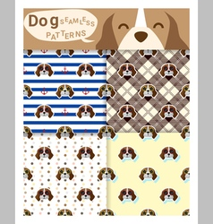Set of animal seamless patterns with beagle dog 1 vector image vector image
