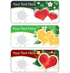set of banners with fruits hearts vector image