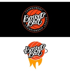 Set of basketball hand written lettering logo vector