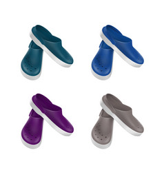 Set of colored medical footwear clogs isolated vector