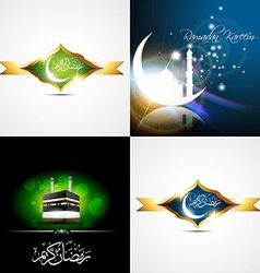 Set of creative background of eid festival of vector