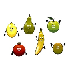Set of happy fresh cartoon fruits vector image