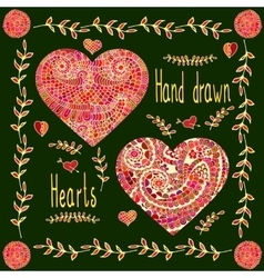 Set of two hand drawn hearts with floral frame vector image vector image