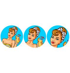 Set of womens pop art round vector