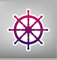Ship wheel sign purple gradient icon on vector