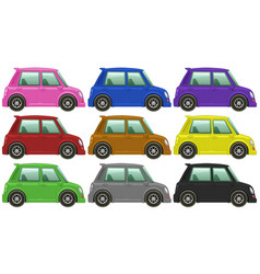 Small cars in nine colors vector