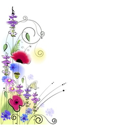Spring floral background with butterfly vector image vector image