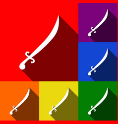 Sword sign set of icons with vector