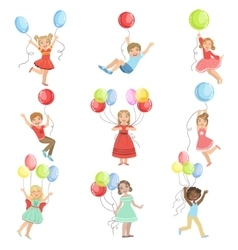 Kids With Party Balloons vector image