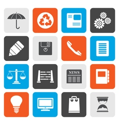 Flat Business and Office internet Icons vector image