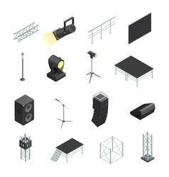 Icons set of stage elements vector