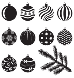 Christmas baubles set vector