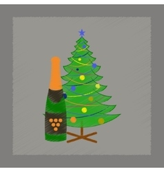 Flat shading style icon christmas tree champagne vector