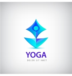 Stylized human yoga shape logo man sitting lotus vector
