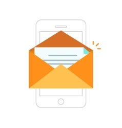 Email notification mobile phone envelope with new vector