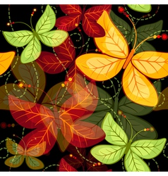 Seamless dark vivid autumn pattern vector image