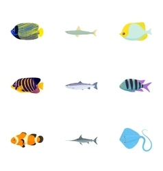 Species of fish icons set cartoon style vector