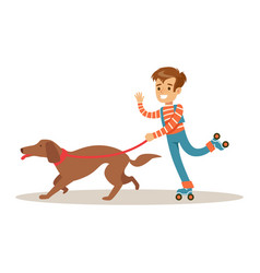 Boy rollerblading with his dog on a leash vector