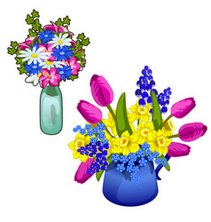 Two bouquet of flowers in glass and ceramic vase vector
