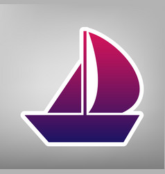 Sail boat sign purple gradient icon on vector