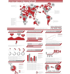 Infographic demographics population 2 red vector