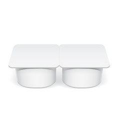 realistic white plastic container for yogurt vector image
