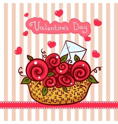 Basket with red roses flowers Valentines day vector image