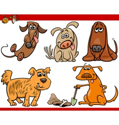 Happy dogs cartoon set vector