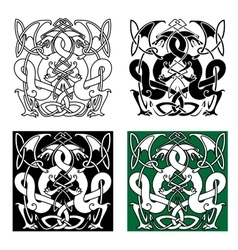 Dragons entwined in traditional celtic ornaments vector