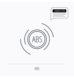 Abs icon brakes antilock system sign vector
