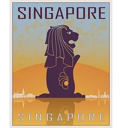 Singapore vintage poster vector image